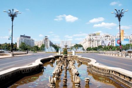 Le boulevard Unirii, à Bucarest.<br />