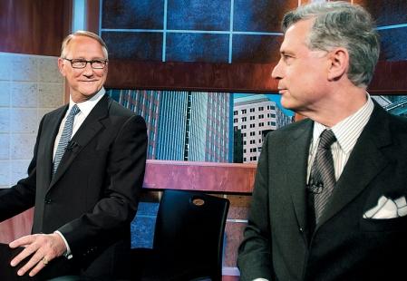 <div> Gérald Tremblay et Peter Trent lors d'un débat sur les défusions municipales, en 2004</div>