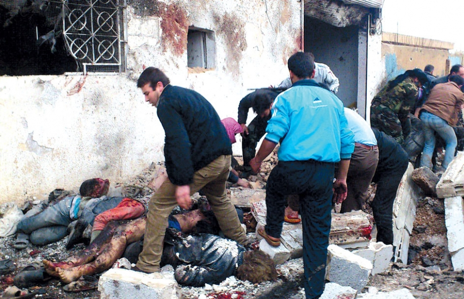 <div>  Boulangerie détruite dans la localité rebelle de Halfaya; le bilan pourrait s'alourdir.</div>
